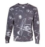 STAR WARS Adult Male Imperial Fleet TIE Fighters All-Over Print Sublimation Sweater, Small, Dark Grey