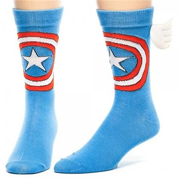 CAPTAIN AMERICA Logo Blue Men's Crew Socks