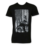 Captain America Men's Black and White Patriot Tee Shirt