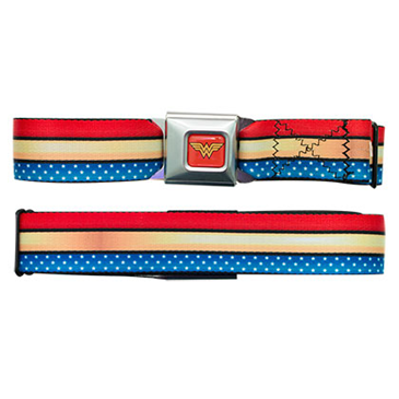 WONDER WOMAN Striped Seatbelt Buckle Belt