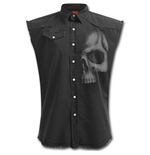 Shadow Skull (GREY) - Sleeveless Stone Washed Worker Plus Size