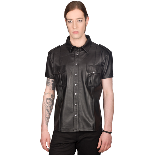 Mode Wichtig Mens Military Shirt Nappa Leather