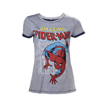 MARVEL COMICS Spider-Man Adult Female Crawling T-Shirt, Medium, Grey