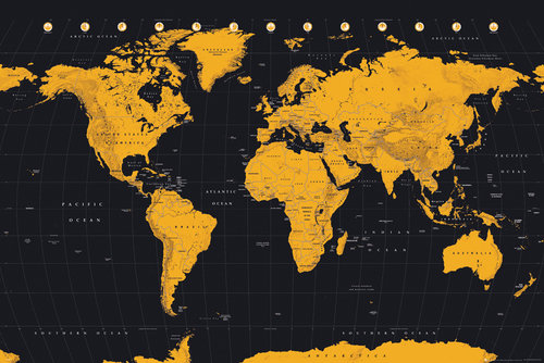 World Map Gold World Map Maxi Poster