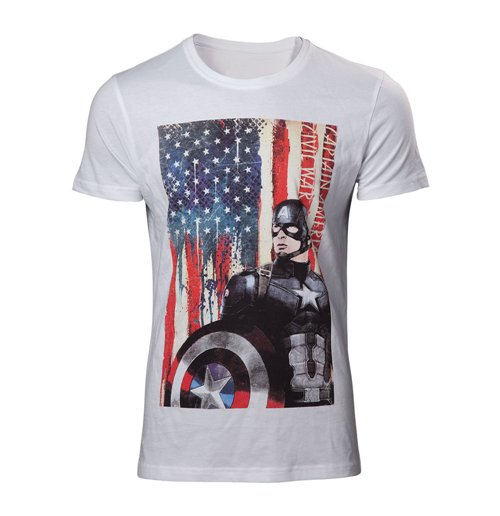 MARVEL COMICS Adult Male Captain America: Civl War Stars and Stripes T-Shirt, Large, White