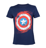 MARVEL COMICS Adult Male Swirling Captain America Shield T-Shirt, Medium Navy Blue