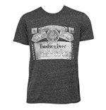BUDWEISER Black Triblend Faded Tee Shirt