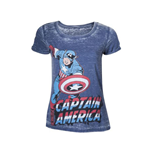 MARVEL COMICS Captain America Adult Female Super-Powered Solider Faded T-Shirt, Large, Blue
