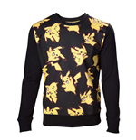 POKEMON Adult Male Pikachu All-over Sweater, Large, Black/Yellow