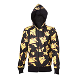 POKEMON Adult Male Pikachu All-over Full Length Zipper Hoodie, Extra Extra Large, Black/Yellow