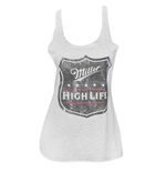 MILLER High Life Vintage White Racerback Ladies Tank Top