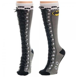 BATMAN Faux Lace Up Knee High Socks