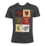 GAME OF THRONES Grey Men's House Squares Tee Shirt