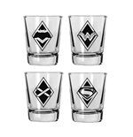 Batman v Superman Shotglass 4-Pack Logos