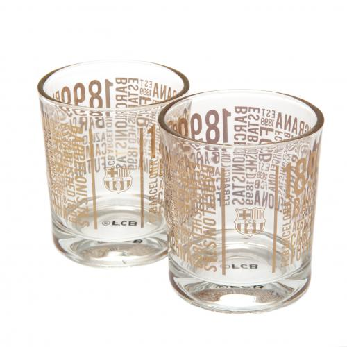 F.C. Barcelona 2pk Whiskey Glass Set TX