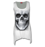 Solemn Skull - Goth Bottom Vest Dress White