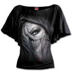 Dead Hand - Boat Neck Bat Sleeve Top Black