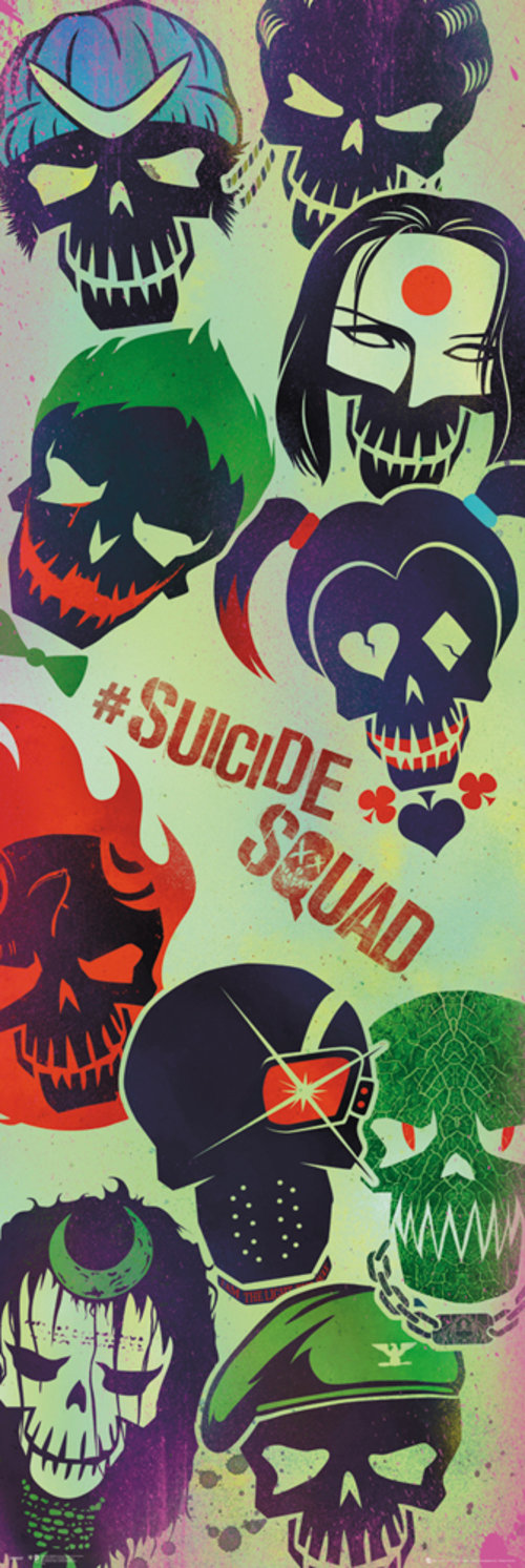 Suicide Squad Faces Door Poster