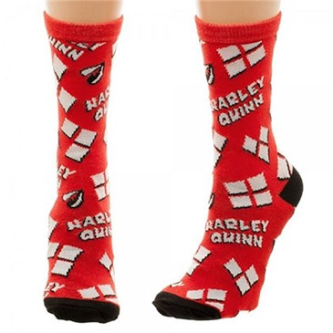 DC Comics HARLEY QUINN Heart Logo Tossed Print Juniors Socks