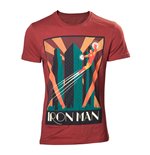 MARVEL COMICS Adult Male Art Deco Flying Iron Man T-Shirt, Large, Red