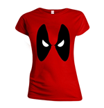 MARVEL COMICS Women's Deadpool Angry Eyes T-Shirt, Medium, Red