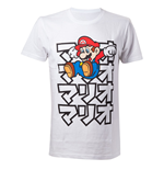 NINTENDO Super Mario Bros. Adult Male Japanese Mario T-Shirt, Medium, White