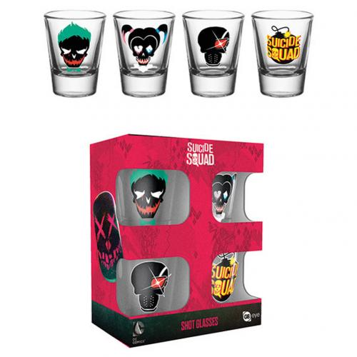 Suicide Squad 4pk Shot Glass Set