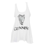 GUINNESS Distressed Harp Logo Women's White Tank Top