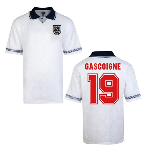 Score Draw England World Cup 1990 Home Shirt (Gascoigne 19)