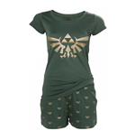 NINTENDO Legend of Zelda Hyrule Royal Crest Shortama Nightwear Set, Medium, Green