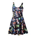 NINTENDO Super Mario Bros. Female Characters & Icons Sleeveless Dress, Extra Small, Black