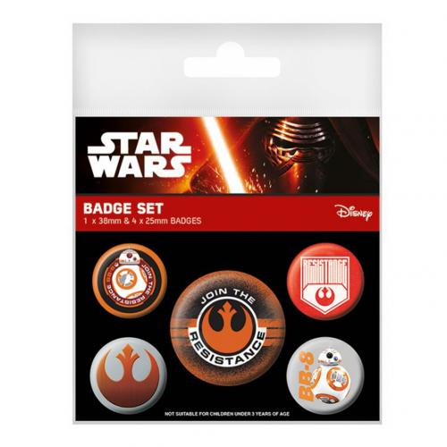 Star Wars The Force Awakens Button Badge Set Resistance