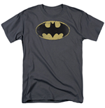BATMAN Distressed Sheild Logo Men's Grey Tshirt