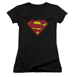 SUPERMAN Classic Logo Women's Black V-Neck Tshirt