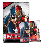 Captain America Civil War Pillow & Fleece Blanket Set Captain America & Iron Man