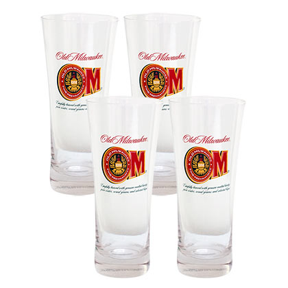 OLD MILWAUKEE Beer 4 Pack Pilsner Glasses