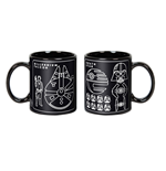 Star Wars Mug Millennium Falcon & Death Star Blueprint