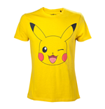 POKEMON Men's Pikachu Winking T-Shirt, Small, Yellow
