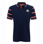 2016-2017 Scotland Macron Rugby Travel Cotton Polo Shirt (Navy)