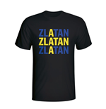 Zlatan Ibrahimovic Sweden Player Flag T-shirt (black)