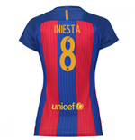 2016-17 Barcelona with Sponsor Womens Home Shirt (Iniesta 8)