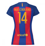 2016-17 Barcelona with Sponsor Womens Home Shirt (Mascherano 14)