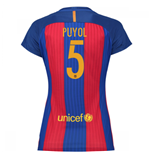 2016-17 Barcelona with Sponsor Womens Home Shirt (Puyol 5)