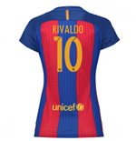 2016-17 Barcelona with Sponsor Womens Home Shirt (Rivaldo 10)