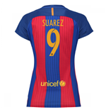 2016-17 Barcelona with Sponsor Womens Home Shirt (Suarez 9)