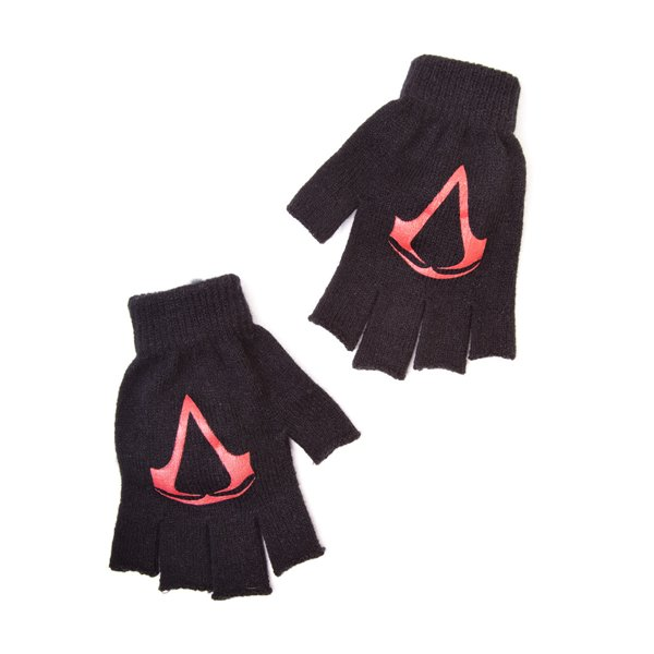 Assassin's Creed - IV Black Flag Black Fingerless Gloves With Red Logo