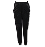 Gothic Rock - Ladies Joggers Slashed with Pu Leather Inserts
