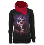 Madcap - Shawl Neck Red Hood Kangaroo Top Black