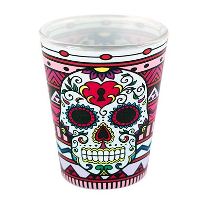 Day Of The Dead Sugar Skull Shot Glass
