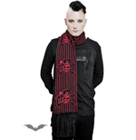 Red pinstriped scarf - Gambler Skull